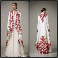 Wholesale fashion malaysia - 2016 White Satin Evening Dresses With Red Embroidery Arab Muslim Dress Ethnic Arab Robes With Long Sleeves Malaysia Middle East Only Coat