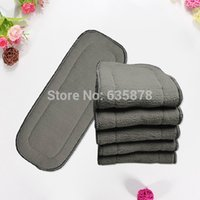 Wholesale Microfiber Bamboo Inserts - 5Pcs lot Bamboo Fiber Charcoal 5 layers Washable Cloth Diaper Nappies Microfiber Insert Reusable Free Shipping order<$18no track