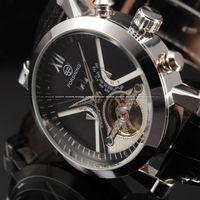 Wholesale Wrap Watch Brands - Classic Tourbillon Wrap Mens Watches Top Brand Luxury Automatic Watch Golden Case Calendar Male Clock Black Mechanical Watch