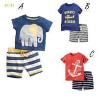 Wholesale Boys Shirts Designs - Boys elephant aircraft ship fish stripe set Suits Summer new 3 Design children cartoon Short sleeve T-shirt +shorts 2 pcs Suit B001