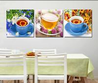 ingrosso pavone di pittura di tela di arte della parete-3 pezzi Spedizione gratuita Pittura murale Picture Art Pittura su tela Stampe tea flower caratteri cinesi pavone Caffè Bambù rosa peonia