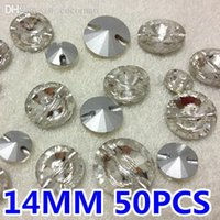 Wholesale Rhinestones Pointback - Wholesale-super shiny 50pcs 14mm Rivoli Sew On Rhinestone With One Hole Crystal Clear Color Pointback silver base Sewing Crystal