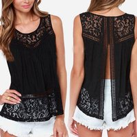 Wholesale Crochet Sleeveless Blouse - 2015 Summer Women Chiffon Crochet Lace vest Blouse Shirt Sexy Open Back sleeveless shirts tank tops Black Blusas Femininas