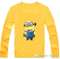 Wholesale Yellow Minion Kids T Shirts - New 2016 cartoon anime figure despicable me minion clothes minion costume kid clothes, long sleeve t shirts,girls boys' t-shirts