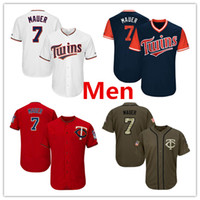 Wholesale Twin Stars - Mens Twins 7 Joe Mauer Baseball Jersey Red White Grey Gray Green Salute Players Weekend All Star Team Logo Memorial Day