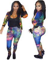 Wholesale Two Piece Ladies Dress Suits - Newest Women Sexy Mosaic printing colour Ladies tracksuits Tops Pants Women Two- Pieces Set Sportwear Woman Dresses Womens Sports suit