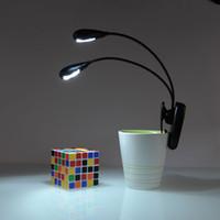 steht flexibler arm großhandel-Schwarzer Clip auf 2 Dual Arms 2LED Flexible Leselampe Buchlicht für Notenständer ebook Nachtlicht Clip-On Super helle LED-Campinglampe