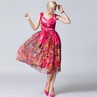 Wholesale Silk Bohemia - Wholesale Customized SUMMER WOMEN DRESSES NEW FASHION 100% SILK PRINTING FLOWER BEACH DRESSES LONG BEACH DRESSES BOHEMIA STYLE PLUS SIZES