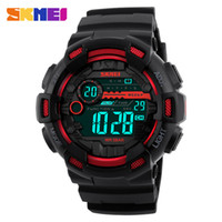 Wholesale Double Chronograph Watch Men - SKMEI Men Sports Watches 50M Waterproof Back Light LED Digital Watch Chronograph Shock Double Time Display Wristwatches Saat Clock For Male