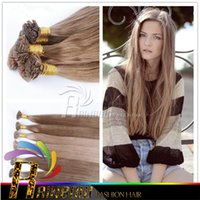 Wholesale 22 Inch Fusion Hair - Fusion Hair Extension Free Shipping 18-28 inch Human Remy Natural Hair Extension Blonde Color Keratin Flat Tip Hair
