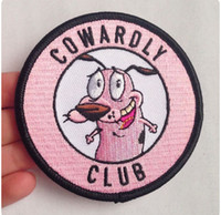 Wholesale Wholesale Embroidered Dog Patches - Pink COWARDLY CLUB Dog Embroidered Iron On Patch Motorcycle Biker Vest Rider 3 Inch Applique DIY Accessory Punk Badge Free Shipping.