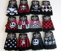 Wholesale Nightmare Before Christmas Gloves - Free shipping, New Sale 10 Pair Skull nightmare before Christmas Fingerless gloves Children's Christmas gift