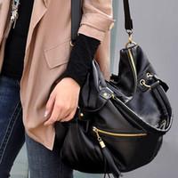 Wholesale Korean Leather Hobo Bags - Free Shipping 2015 NWT Korean Stlye Fashion Big Capacity Black Womens Ladies Shoulder Handbag PU Leather Bag Hobo Black