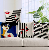 Wholesale fashion women cushion cover sexy red lips pillow case black and white stripes almofadas cosmetic funda cojin