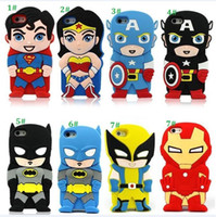 Wholesale 3d Venom Iphone Case - 3D Cartoon Venom Ironman Captain America Spider Superman Bat Man Batgirl Superhero Comics Rubber Case For iPhone 4 4S 5 5S 6 6plus dhl free