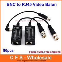 80pcs CAT5 BNC a RJ45 convertitore video Balun per CCTV Power Video Audio PTZ spedizione Fedex / DHL