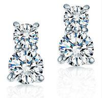 korea sterling silber großhandel-2015 neueste Kürbis Ohrstecker mit CZ Kristall Charme Korea 925-sterling-silver Weiblicher Ohrring