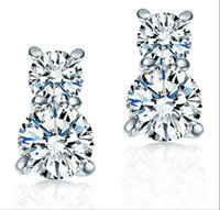 Wholesale 2015 Newest Gourd Stud Earring with CZ Crystal Charm Korea sterling silver Female Earring
