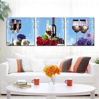einfrieren glas großhandel-3 Stücke Moderne Malerei Kunst Bild Malen auf Leinwand Abstrakter Baum Weinglas Traubenrose Blume Apfel Erdbeere gefrorenes Eis Früchte