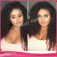 Wholesale Black Hair Tie Cosplay - Unprocessed deep curly glueless silk top full lace wigs lace front human hair wigs for balck women with baby hair