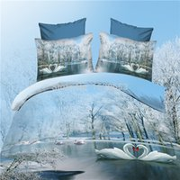 Wholesale Love Bedspreads - Wholesale-2015 new Love of the Swan Lake Bedclothes bed sheet linen sets bedding-set quilt duvet cover 3D bedding set king size bedspread