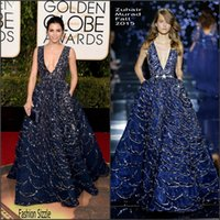 73. Golden Globe Awards Abendkleider mit Taschen Major Beading Tauchen Hals Red Carpet Celebrity Gowns Inhired Von Zuhair Murad 2016