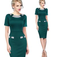 Wholesale Women Dresses Work Color - New 2016 Slim Stylish Short-sleeved Striped Women Clothes Hit Color Package Hip Women Pencil Dresses Work Dress B&58