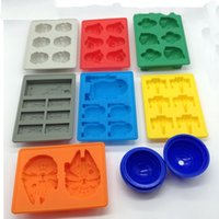 Wholesale Silicone Ice Cube Trays Wholesale - 8Pcs set Star Wars Ice Tray Silicone Mold Ice Cube Tray Chocolate Fondant Mold Death Star X-Wing Funny Candy Bake Maker #001