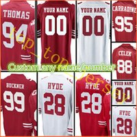 Wholesale Football Tanks - stitched #28 Carlos Hyde 99 DeForest Buckner jersey Men 88 Garrett Celek 94 Solomon Thomas 95 Tank Carradine custom jerseys