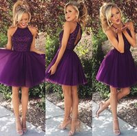 Wholesale Knee High Cheap Bridesmaids Dresses - Real image Grape 2015 Short Bridesmaid Dresses Cheap Homecoming dresses Halter Neck Sleeveless Zip Back Knee Length Tulle 2016 Prom Gowns