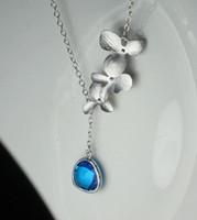 Wholesale Orchid Pendant - Hot Sale Statement Sapphire orchid Necklace Blue Stone Pendant Flower Necklace Cute Jewelry Fashion for women girls 2015