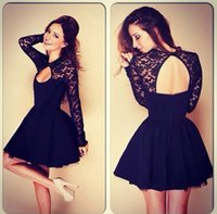 Wholesale Sexy Midi Dress For Sale - Whole-sale Sexy Lace Long Sleeve Dresses,A-line Dresses For women,60%cotton spring Dresses Free Shipping