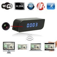 Wholesale Hidden Camera Clocks - Hot new products 720P T8S P2P night vision wifi clock with wireless spy hidden cameras