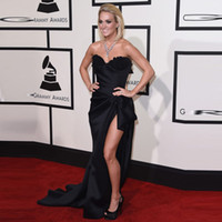 Wholesale Demi Lovato Red Carpet Dresses - Black Split Prom Dress Inspired by Demi Lovato Grammy Awards For Celebrity Red Carpet Dresses Sweetheart Custom Size Formal Party Gowns