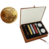 Wholesale Vintage Seal Stamp - Vintage Harry Potter Hogwarts Stamp Wax Seal Stamp Set Gift Box with 3PCS Wax Stick+1 stamp