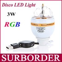 Stage Bola Atacado Mini-RGB Crystal Light Lamp LED 3W DMX DJ partido de disco luzes de laser Bulb Interface USB Auto Rotating Luzes para festa