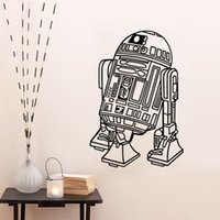 Wholesale Robot Sticker Wall Art - Star Wars Robot Wall Decals Quote R2 D2 Stickers Vinyl Home Decor Kids Geek Gamer Removable Mural Bedroom Wallpaper free shipping