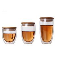 ingrosso bicchieri di bambù tazze-Tazze di caffè della tazza di tè della doppia parete di vetro delle tazze trasparenti dell'isolamento con il coperchio di bambù Vaso creativo della birra di Caneca del vino Verre