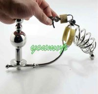Wholesale Chastity Art - Male Stainless Steel adjustable Anal plug Butt beads+cock cage+catheter Chastity belt Art Device SM Sex toys JJD10062007