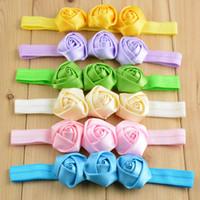 Wholesale Headband Hair Flowers Topbaby - 2017 New Wholesale TOPBABY Triple Satin Ribbon Roses Flowers with Headbands Baby Girls Flower Hair Bands 30pcs lot