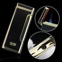 Wholesale Thin Gift Box - Tiger lighter windproof ultra-thin Gas Cigarette lighter for Men Male Father Daddy as Gift with Gift BOX 885