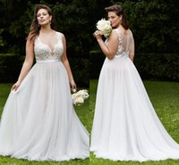 Wholesale See Through Top Wedding Dresses - Hot Plus Size Wedding Dresses Jewel A-Line Sleeveless See Through Back Appliques Lace Top Chiffon Cheap Vintage Wedding Dress