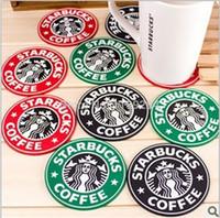 ingrosso sirena rotonda-10 pz Versione 1992 Mermaid Krakens LOGO Starbucks Silicone Coaster 8.3 cm Tovagliette Rotonde Caffè Giapponese Pad Tappetini TOP48