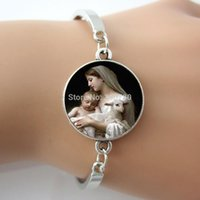 Wholesale baby jesus - Nativity Virgin Mary Jesus and Lamb Bracelet Spiritual Religious Mother and Baby Sheep Bracelet one piece free Shippng BW001