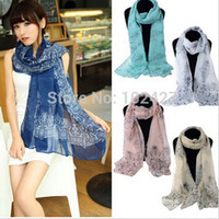 Wholesale Wholesale Printed Chiffon Scarf - Hot Selling Blue and White Porcelain Scarf 6 colors 2015 Vintage Long Soft Chiffon Scarf Shawl Women Spring Autumn Large Scarf