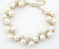 Wholesale Diamond Pearl Ring Designs - Fashion New Brand Design Luxurious 18K Gold Charm Crystal Cubic Zircon Diamond Pearl Beads Bracelet For Women Jewelry