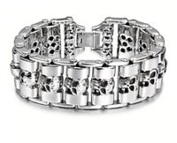 Other sports heavy bikes - Heavy Punk Gothic Cool men titanium steel Biker bike Motorcycle Chain skull bracelet Boys L stainless steel bangle jewelry