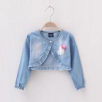 Wholesale Girl Coat Lace Winter - Fashion Casual lace denim Jackets Girls Cute Tops Long sleeve shawl Denim Coats C001