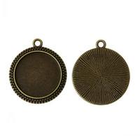 rodadas de níquel venda por atacado-Descobertas Jóias Pingentes Charme Rodada Antique Bronze Cabochão Ambiente (Fit 20mm Dia) Níquel Livre 29mm x 25mm (1 1/8