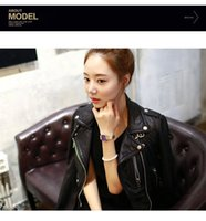 Wholesale Crop Leather Jacket Women - New arrival Double collar inclined zipper Women jacket slim Faux Leather Jackets zip-up Cropped PU Leather motorcycle Jacket short style